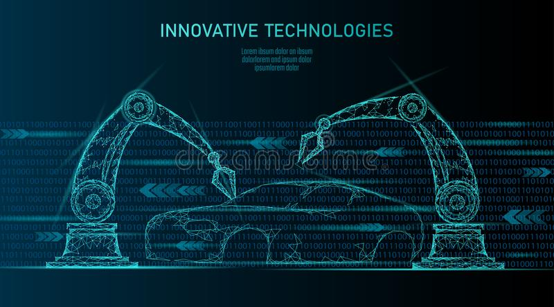 Låg poly robotic teknologi för automation för armenhetsbil För fabriksrobot för industriell affär welder för maskin Auto kropp stock illustrationer