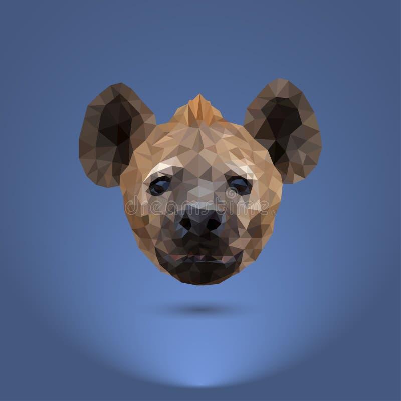Låg-poly rovdjur Huvudet av en hyena royaltyfri illustrationer