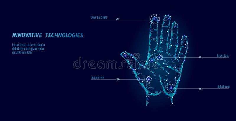 Låg poly säkerhet för handbildläsningscyber Personlig kod för legitimation för IDfingeravtryckhandprint Tillträde för information royaltyfri illustrationer