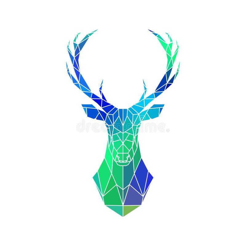 Låg poly stående för hjortar Blå och grön lutning royaltyfri illustrationer