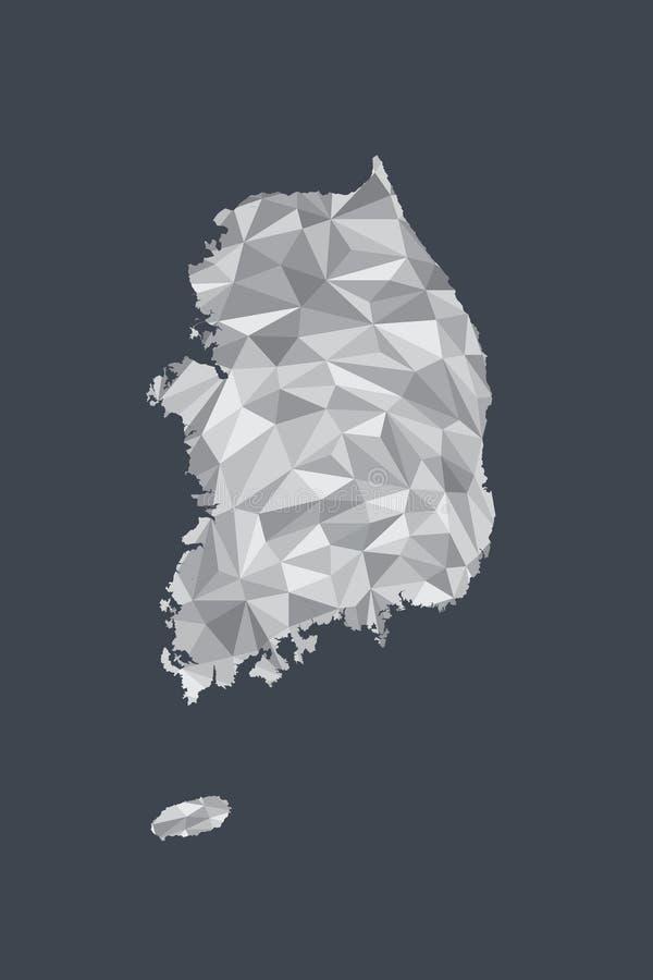 Låg poly Sydkorea översiktsvektor av former eller trianglar för vit färg geometriska på svart bakgrund stock illustrationer