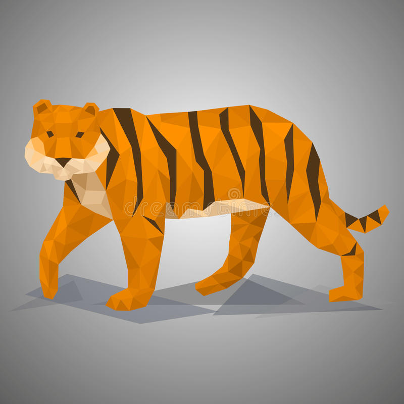Låg Poly tiger Vektorillustration i polygonal stil royaltyfri illustrationer