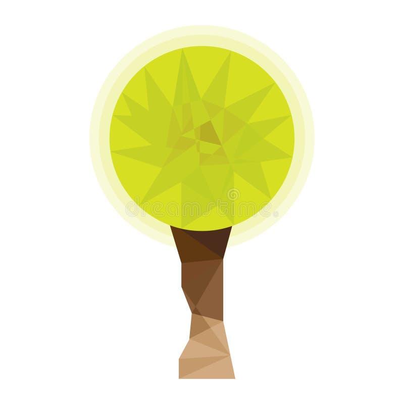 Låg poly tree Stiliserat begreppsmässigt lågt polygonal träd logo symbol royaltyfri illustrationer