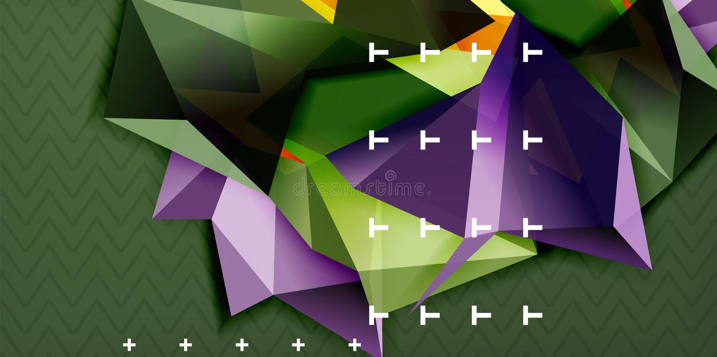 Låg poly triangulär formbakgrund för design 3d, abstrakt designmall för mosaik royaltyfri illustrationer