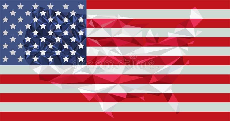 Låg Poly USA-översikt på flaggavektor royaltyfria foton