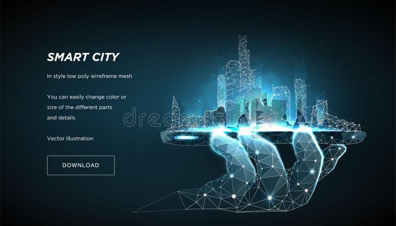 Låg poly wireframe för smart stad Framtida abstrakt begrepp eller metropolis för stad Begreppet klarar av staden från telefonen V royaltyfri illustrationer