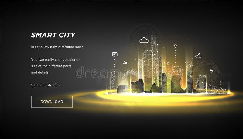Låg poly wireframe för smart stad Stadshi techabstrakt begrepp eller metropolis Intelligent affärsidé för system för byggnadsauto royaltyfri illustrationer