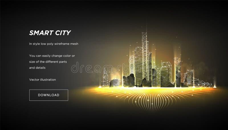 Låg poly wireframe för smart stad Stadshi techabstrakt begrepp eller metropolis Intelligent affärsidé för system för byggnadsauto stock illustrationer