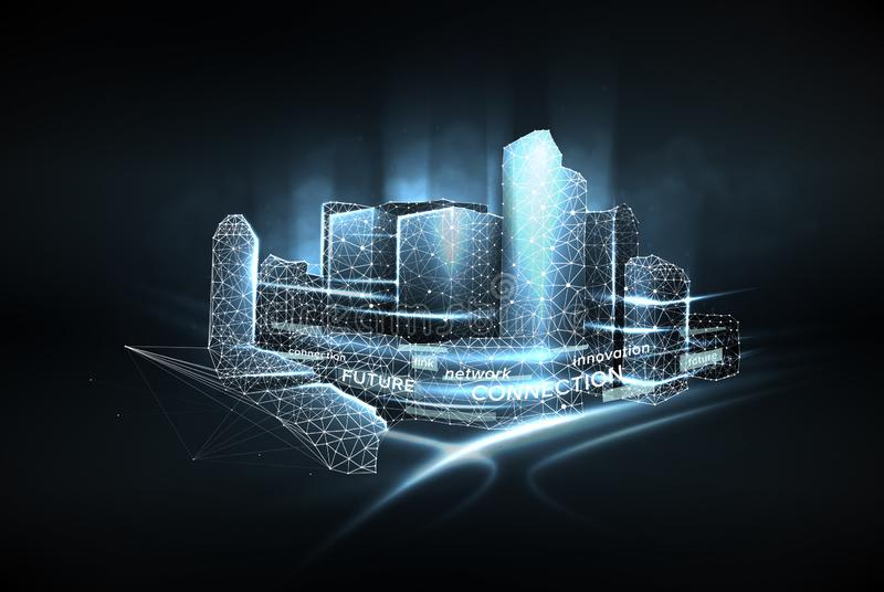 Låg poly wireframe för stad Begrepp av det smarta stadsnätverket, internetkommunikationen och det digitala trafikledningsystemet stock illustrationer
