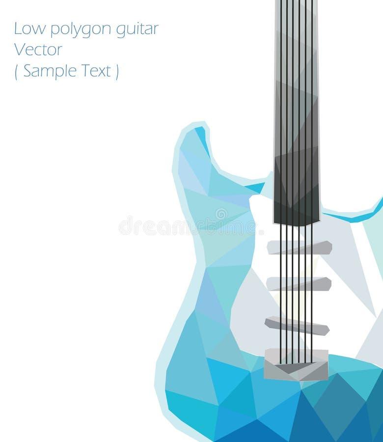 Låg polygon för vektorgitarr vektor illustrationer
