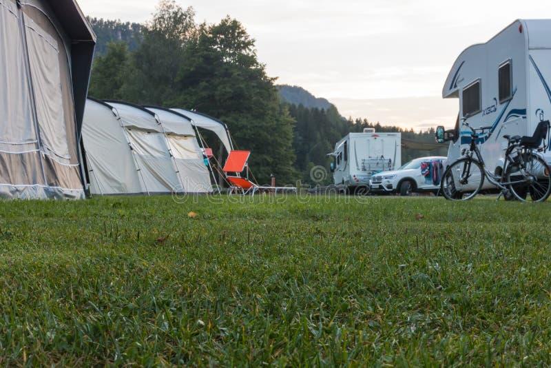 Låg sikt över en gräsgrad på en tältplats royaltyfri fotografi