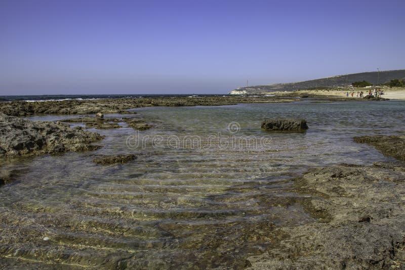 låg stenig tide för strand driva som fiskar medelhavs- netto havstonfisk arkivbilder