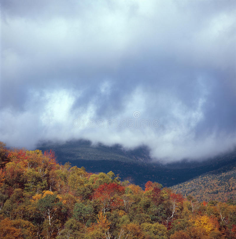 Låga moln som filt det nordliga presidents- området, vita berg, New Hampshire royaltyfria foton