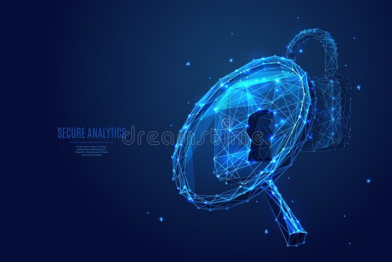 Låga poly blått för förstoringsglas och för lås royaltyfri illustrationer