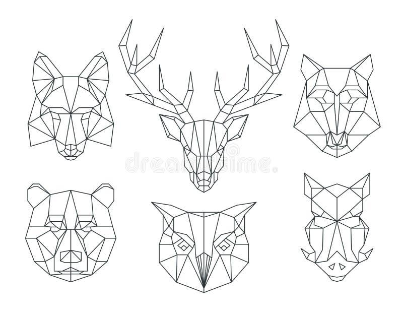 Låga poly djurhuvud Triangulär tunn linje vektoruppsättning stock illustrationer