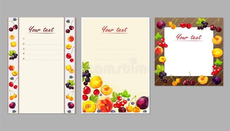 Låga poly frukter och bär av persikan, aprikos, körsbärsröda, röda och svarta vinbär, plommon på vykort och broschyrer stock illustrationer