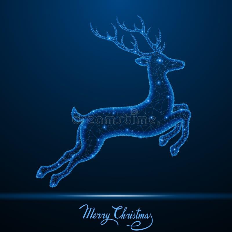 Låga poly hjortar för jul royaltyfri illustrationer