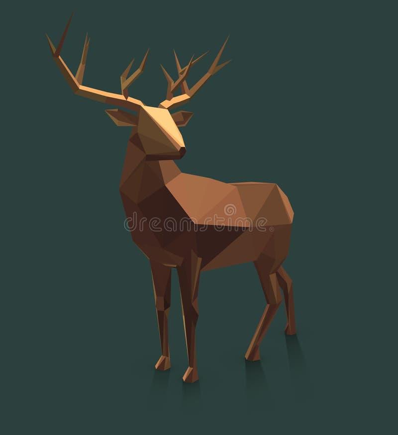 Låga Poly hjortar för vektor vektor illustrationer