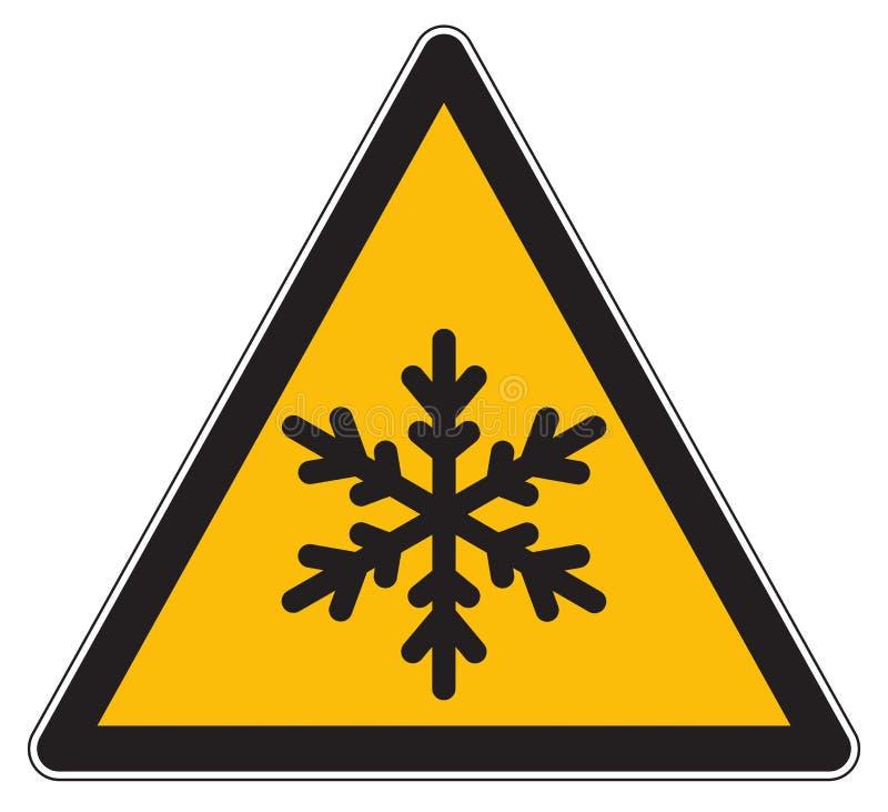 Låga temperaturer för gult farasymbol royaltyfri illustrationer
