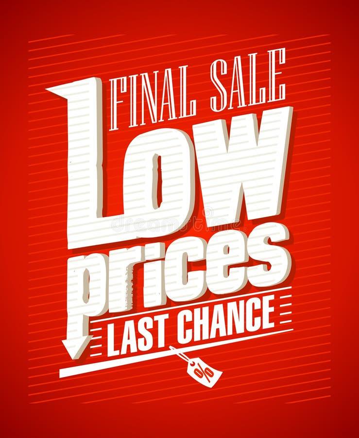 Lågpriser sista försäljningsdesign. royaltyfri illustrationer
