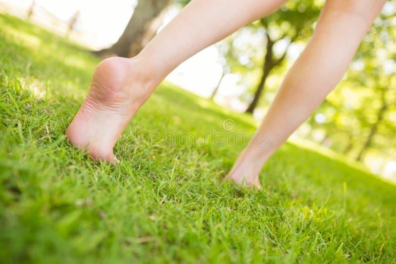 Lågt avsnitt av kvinnan som går på gräs arkivfoton