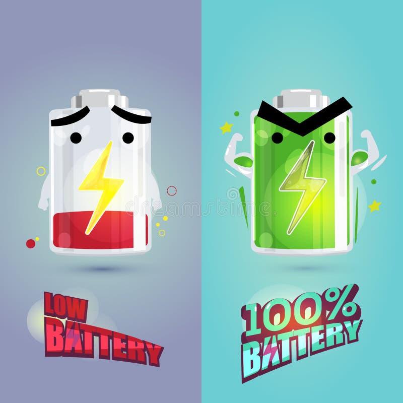 Lågt batteri och full batteriteckendesign makt av batteriet royaltyfri illustrationer
