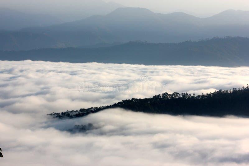 Lågt ligga fördunklar i Himalayas som beskådas från Nainital royaltyfri foto