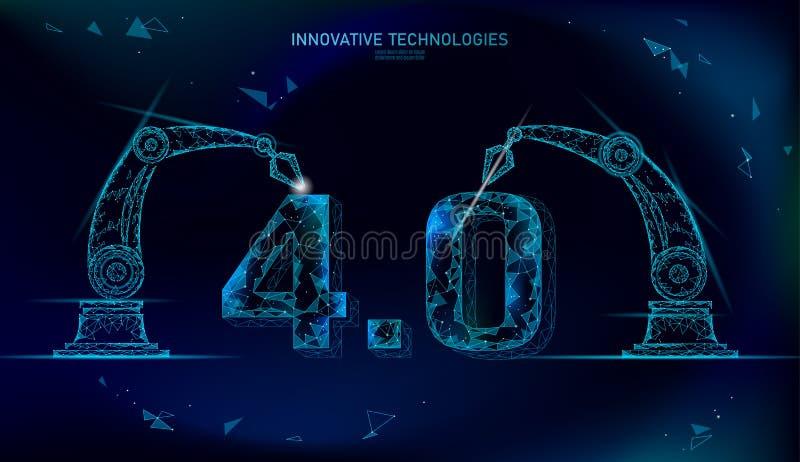 Lågt poly framtida begrepp för industriell revolution industri 4 0 nummer monterat av den robotic armen Online-teknologibransch stock illustrationer