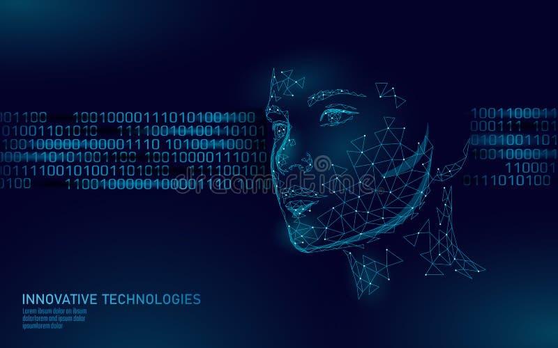 Lågt poly kvinnligt biometric ID för mänsklig framsida Erkännandesystembegrepp Personliga data säkrar att avläsa för tillträde royaltyfri illustrationer