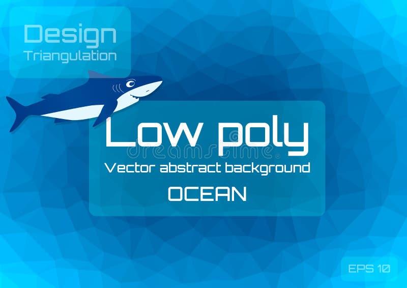Lågt poly mörkt - blå abstrakt bakgrund Geometrisk triangulering av havdjup Texturerad mall royaltyfri illustrationer