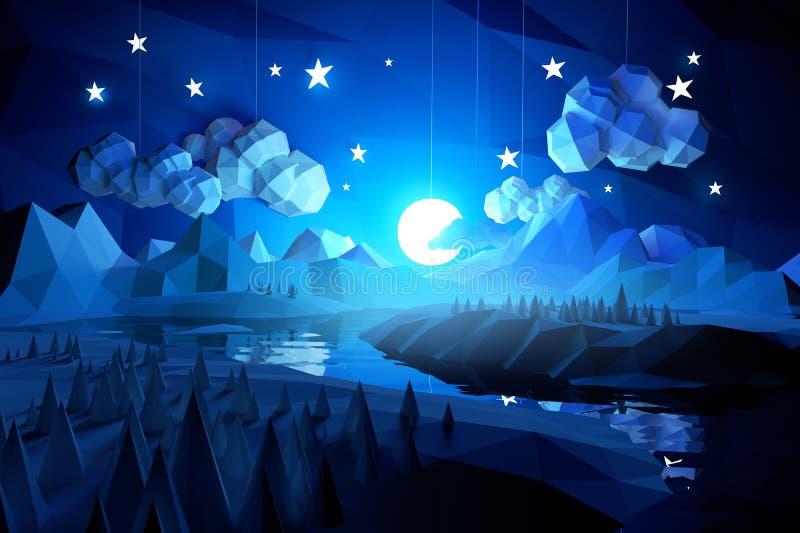 Lågt Poly midnatt landskap stock illustrationer