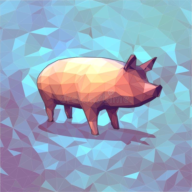 Lågt poly svin för diagram 3D på blå bakgrund royaltyfri illustrationer