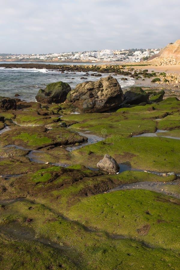 Lågvatten i Praia da Luz royaltyfri fotografi
