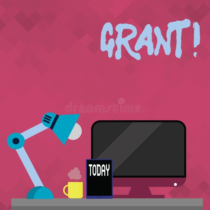 Lån för ordhandstiltext Affärsidé för pengar som ges av en organisation eller en regering för ett avsiktstipendium vektor illustrationer
