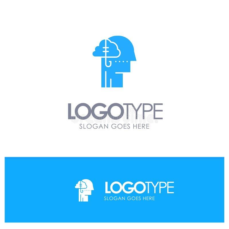 Låna idéer, böjelse, lås, vana, mänsklig blå fast logo med stället för tagline vektor illustrationer