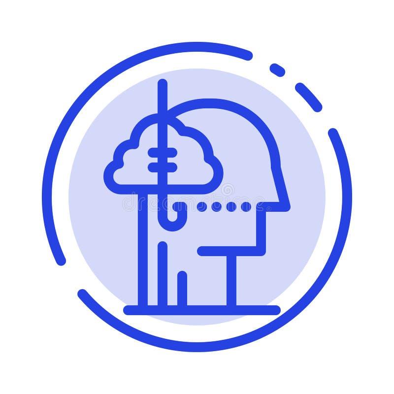 Låna idéer, böjelse, lås, vana, mänsklig blå prickig linje linje symbol stock illustrationer