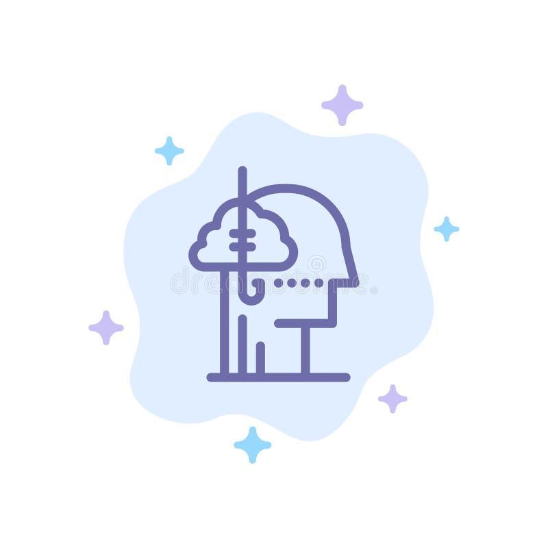 Låna idéer, böjelse, lås, vana, mänsklig blå symbol på abstrakt molnbakgrund royaltyfri illustrationer