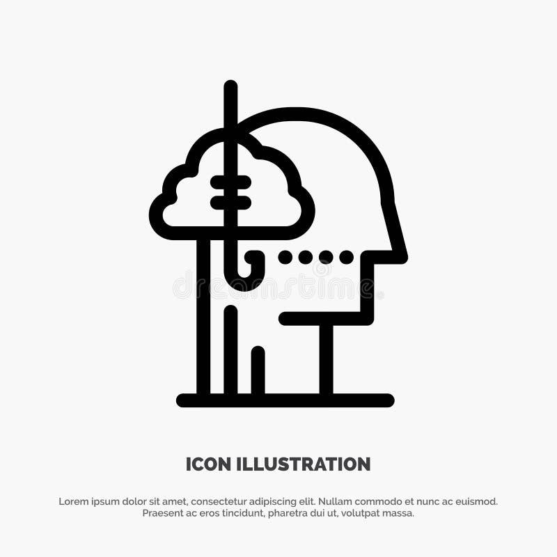 Låna idéer, böjelse, lås, vana, mänsklig linje symbolsvektor vektor illustrationer