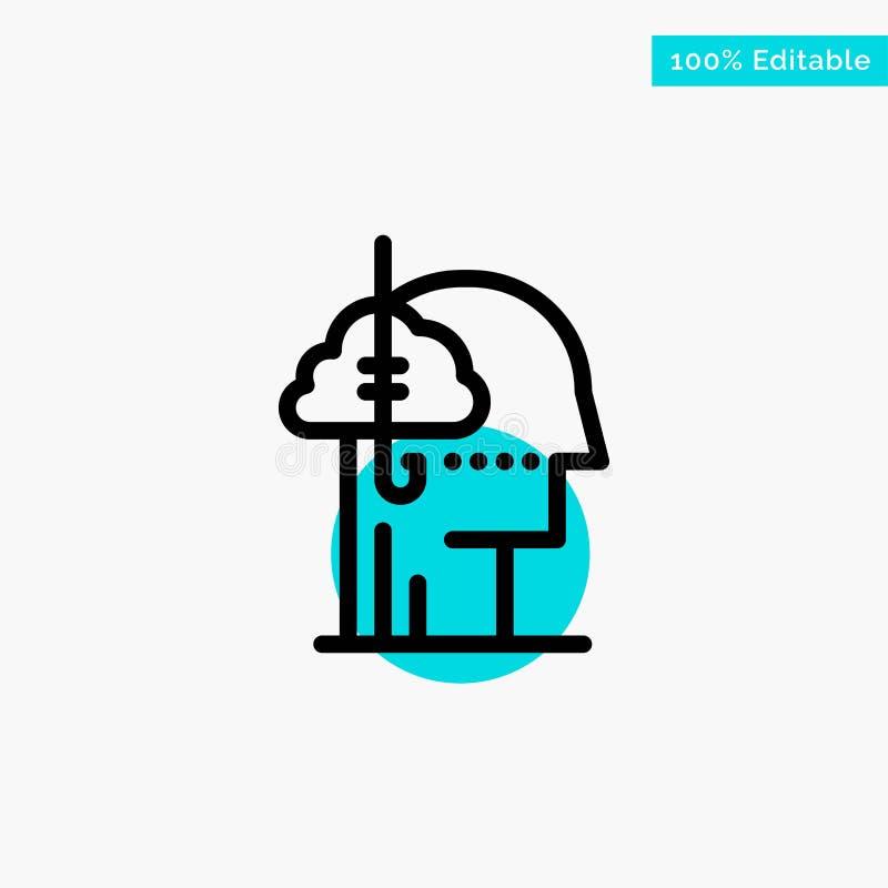 Låna idéer, böjelse, lås, vana, mänsklig symbol för vektor för punkt för turkosviktigcirkel royaltyfri illustrationer