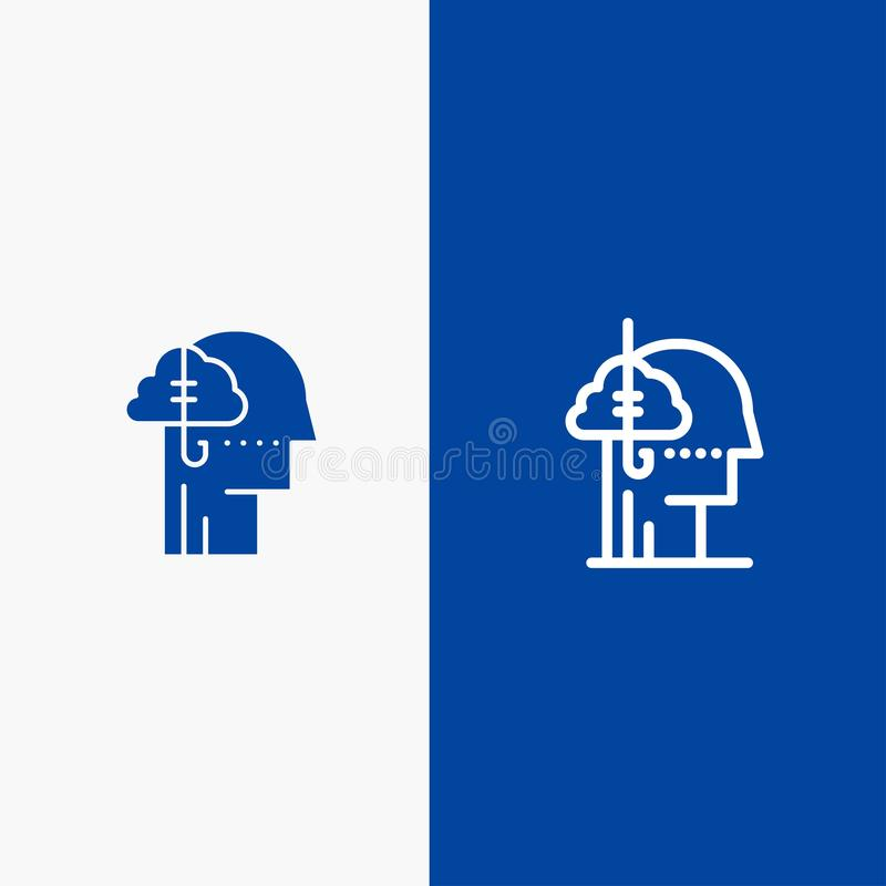 Låna idéer, böjelse, låset, vana, banret för blå för baner för mänsklig symbol för linje och för skåra fast det blåa symbol för l stock illustrationer