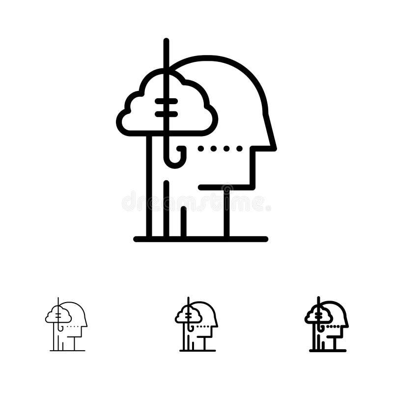 Låna idéer, böjelse, låset, vana, den mänskliga djärva och tunna svarta linjen symbolsuppsättning stock illustrationer