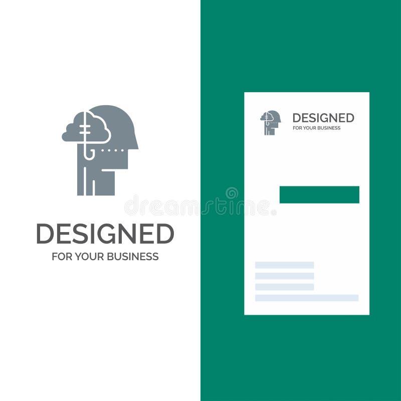 Låna idéer, böjelse, låset, vana, människan Grey Logo Design och mallen för affärskort stock illustrationer