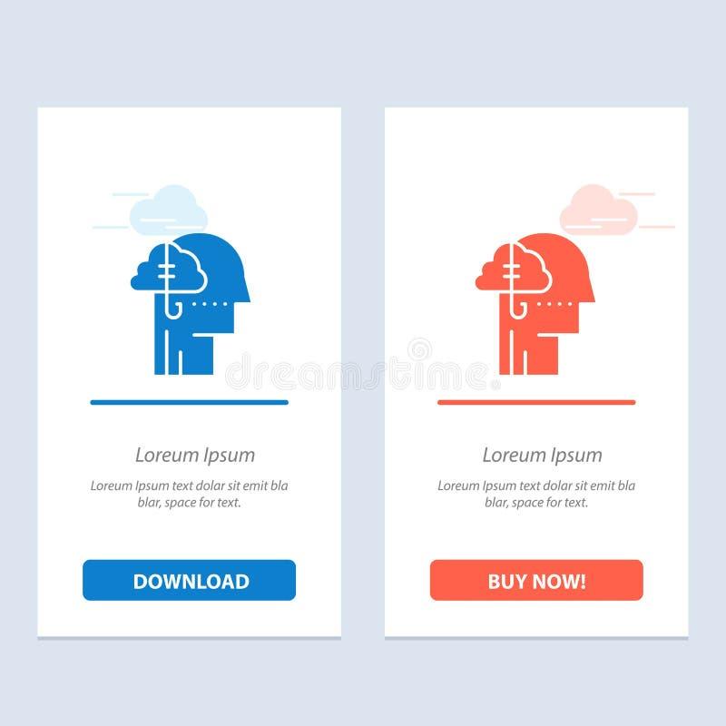 Låna idéer, böjelse, låset, vana, mänsklig blå och röd nedladdning och att köpa nu mallen för rengöringsdukmanickkort stock illustrationer