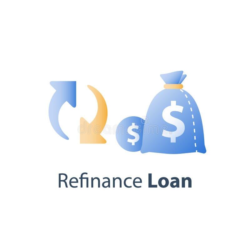 Lånet refinance, pengarpåsen och cirkelpilen, finansiell rådgivning, besparingfonden, investeringretur stock illustrationer