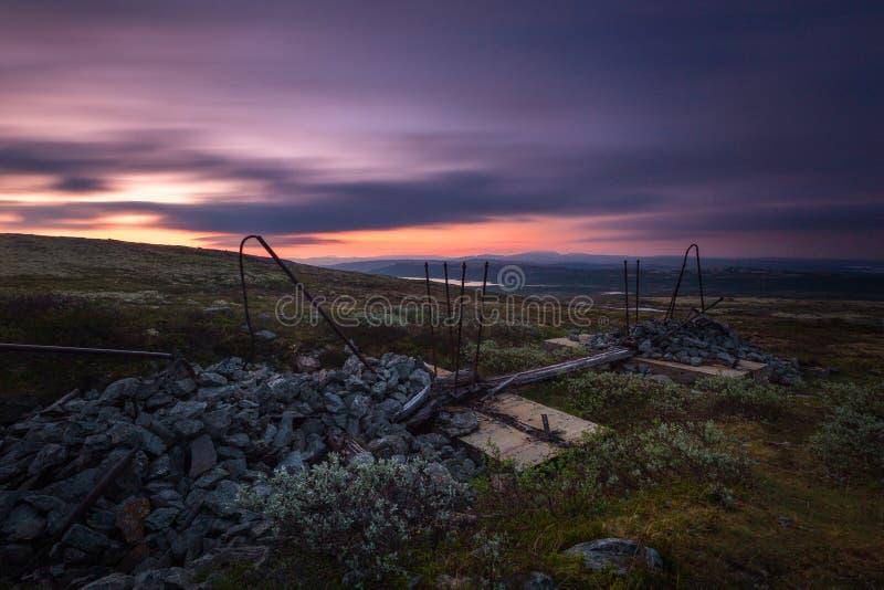 Lång exponering på natthimmel och landskap i område av Nordgruvefe royaltyfria bilder
