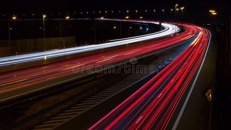 Lång exponeringshuvudväg arkivbild
