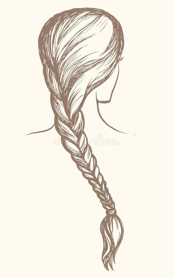 Lång flätad tråd bakgrund som tecknar den blom- gräsvektorn royaltyfri illustrationer