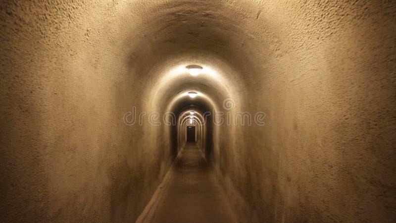 Lång fot- tunnel med dörren på slutet fotografering för bildbyråer