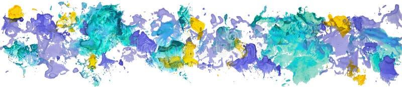 Lång gräns av fläckar för pappers- färg för gouachevattenfärg hand drog vektor illustrationer