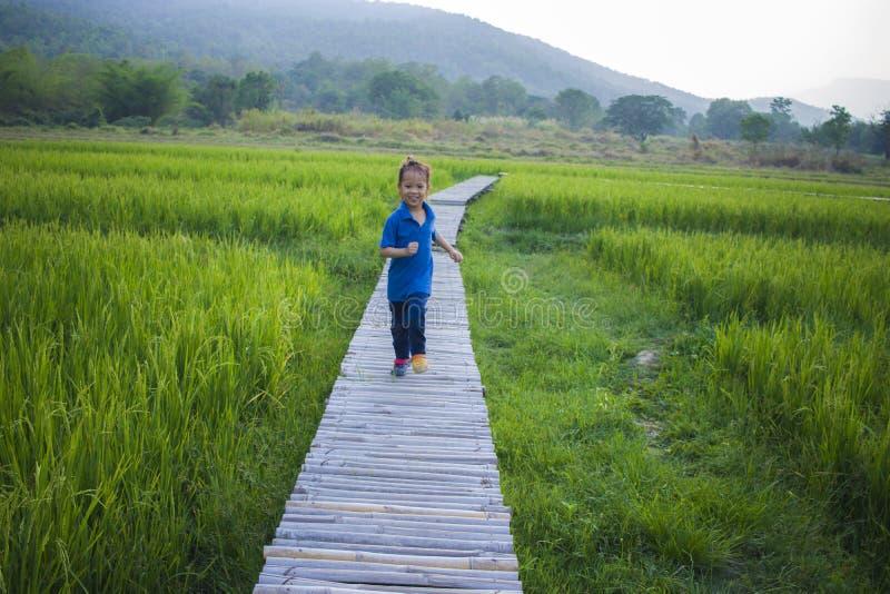 Lång hårpojkekörning och klättra på trappan i risfältväg arkivfoton